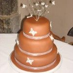 belgian chocolate paste wedding cake with white butterflies