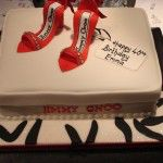 jimmy choo shoe box cake with 2 shoes