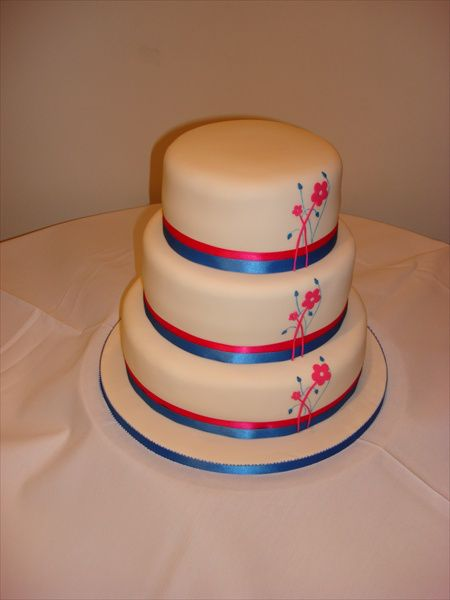 Plain Cake With Pink And Blue Ribbon