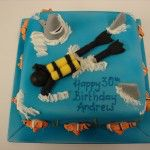 diver on a cake