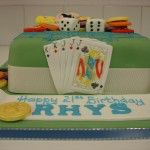 cake with cards and casino chips