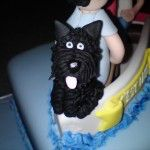 little black scottie dog on cake