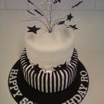 black and white stripes and stars cake