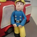 fireman sam cake, sugar handmade model