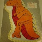 orange dinosaur cake
