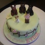 horse cake with little girl and dog