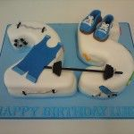 weights cake with sugar singlet, shoes and weights