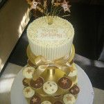 white chocolate shelled cupcakes with gold stars