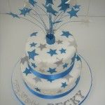 2 tier cake with turquoise stars