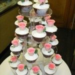 pink rose cupcakes in chocolate shells