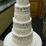 classic 4 tier cake with sugar roses and jewels
