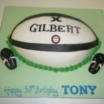 Gilbert rugby ball cake