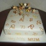 70th birthday cake with gold numbers