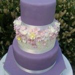 deep purple cake with flowers