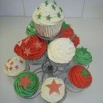 red white and green cupcakes, welsh theme