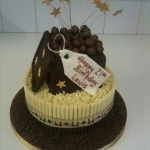 two tier chocolate box cake with maltesers