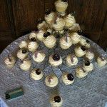 white chocolate shelled cupcakes with lisianthus and lavender sprigs