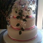 3 tier round with diamontes and pink ribbon