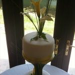 simple stylish cake with separator and yellow lillies