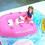 pink boat cake with banana boat cake