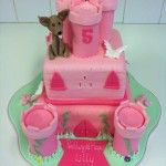 bright pink castle cake