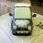 audi car cake with snow on top of the roof