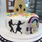 disco themed cake with cds and juke box