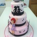 3 tier pink dosco cake with dosco ball