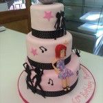 3 tier pink disco cake with disco ball on top