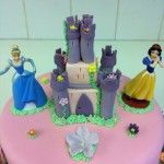 castle cake with disney princess