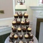sage green and purple wedding cupcakes