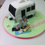 sculptered caravan cake with handmade figures