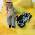 sand dunes cake, desert cake with moterbike and man