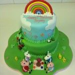 peppa pig cake with rainbow