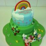 peppa pig cake with rainbow and picnic