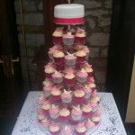 pink and white butterfly wedding cupcakes
