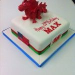 welsh dragon and american flag cake