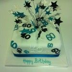 black white and teal numbers cake with stars on wires