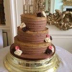 chocolate scraped buttercream 3 tier wedding cake