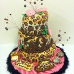 leopard print 3 tier 50th birthday cake