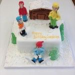 skiing cake with challet