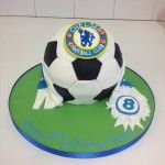 football cake with chelsea badge