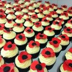 red poppy cupcake wedding