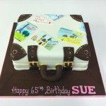 suitcase cake with destination postcards