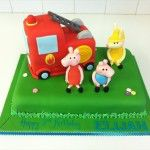 peppa pig fire engine cake