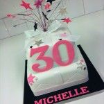 30th birthday 2 tier cake pink black and silver
