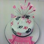 pink black and white number cake with hearts on wires