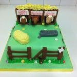 horses in stable cake
