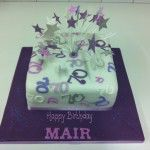 purple number cake with stars on wires