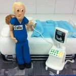 doctor cake scanning pregnant lady